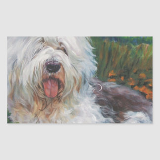 Sticker Rectangulaire Belle vieille peinture anglaise d'art de chien de