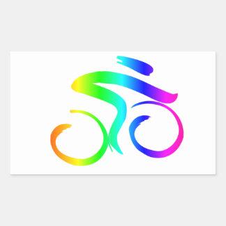 Sticker Rectangulaire Bicyclette 2 d'arc-en-ciel
