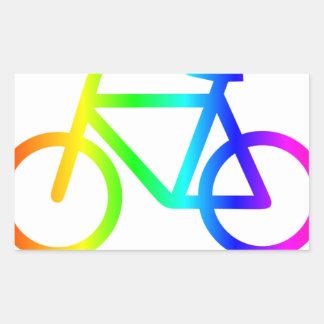 Sticker Rectangulaire Bicyclette 3 d'arc-en-ciel