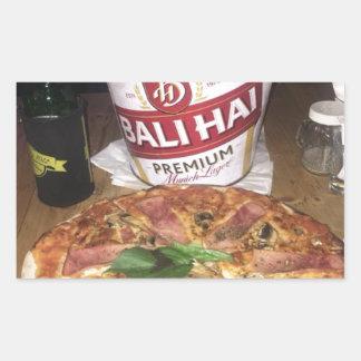 Sticker Rectangulaire Bière et pizza de Bali