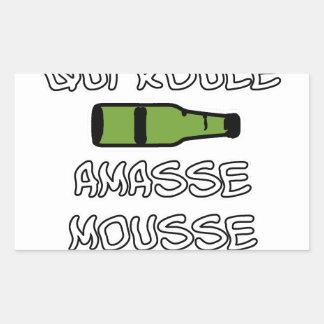 Sticker Rectangulaire BIERE qui roule amasse mousse - Jeux de Mots