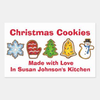 Sticker Rectangulaire Biscuits de Noël faits avec la mitaine de bonhomme