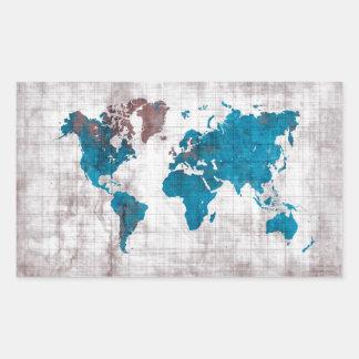 Sticker Rectangulaire bleu blanc de carte du monde