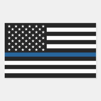 Sticker Rectangulaire Blue Line mince soutiennent l'autocollant de