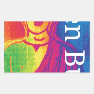 Sticker Rectangulaire Bouddha cassé au néon