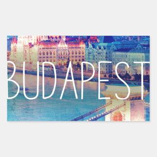 Sticker Rectangulaire Budapest, vintage affiche