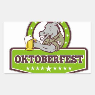 Sticker Rectangulaire Buveur de bière d'âne Oktoberfest rétro
