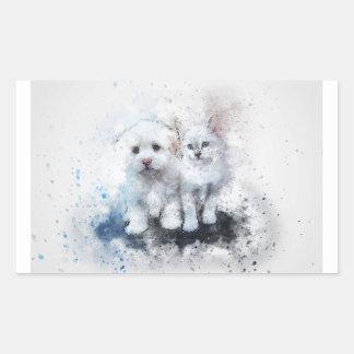 Sticker Rectangulaire Cadeaux animaux mignons