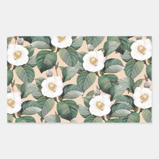 Sticker Rectangulaire Camélia blanc sur le motif beige