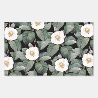 Sticker Rectangulaire Camélia blanc sur le motif noir