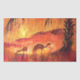 Sticker Rectangulaire Camels in the desert of le Sahara
