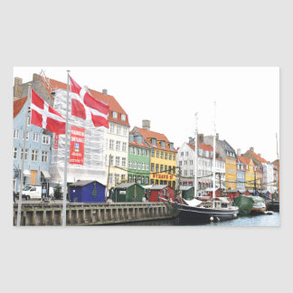 Sticker Rectangulaire Canal de Nyhavn à Copenhague, Danmark