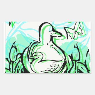 Sticker Rectangulaire Canards dans les cattails vert et bleu