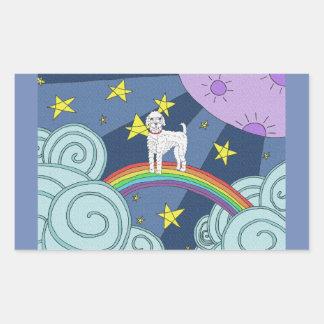 Sticker Rectangulaire Caniche dans le pays des merveilles