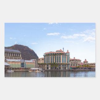 Sticker Rectangulaire capitale caudan de bord de mer de Port-Louis le de