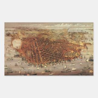 Sticker Rectangulaire Carte aérienne antique de San Francisco, la