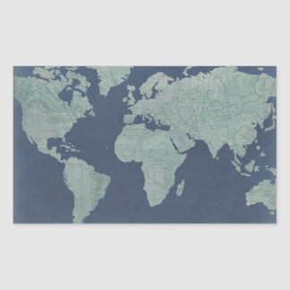 Sticker Rectangulaire Carte de toile bleue du monde