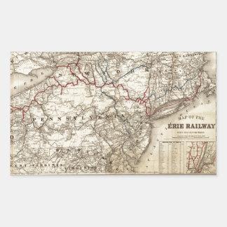 Sticker Rectangulaire Carte du chemin de fer d'Erie (1869)