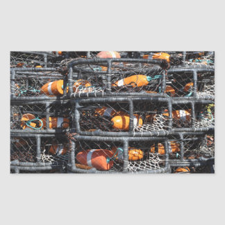 Sticker Rectangulaire Casiers empilés pour la pêche