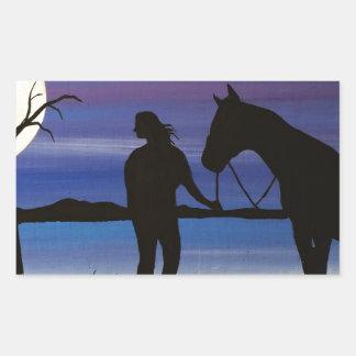 Sticker Rectangulaire cavalier et cheval