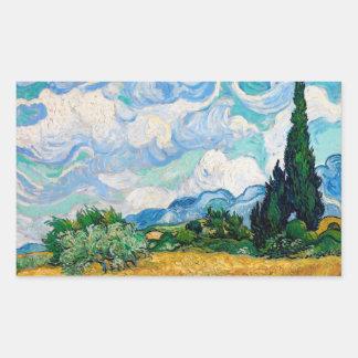 Sticker Rectangulaire Champ de blé avec des cyprès par Vincent van Gogh