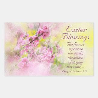 Sticker Rectangulaire Chanson de bénédictions de Pâques d'écriture