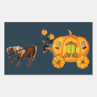 Sticker Rectangulaire Chariot creux somnolent de citrouille de cavalier