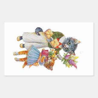 Sticker Rectangulaire Chats d'Arthur Thiele soutenant des cadeaux
