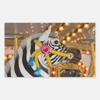 Sticker Rectangulaire Cheval de zèbre de tour de carrousel de manège
