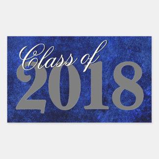 Sticker Rectangulaire Classe de bleu royal de l'obtention du diplôme  