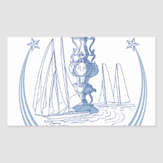 Sticker Rectangulaire Club de yacht emballant le dessin de tasse de