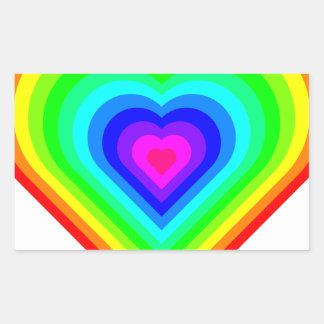 Sticker Rectangulaire Coeur d'arc-en-ciel