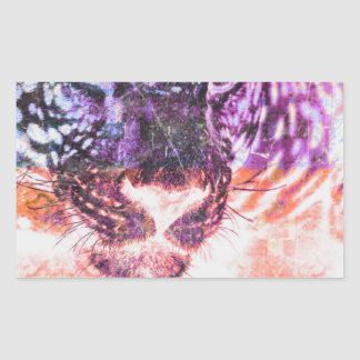 Sticker Rectangulaire Conception de chat de Jaguar d'arc-en-ciel