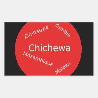 Sticker Rectangulaire Conception de langue de Chichewa