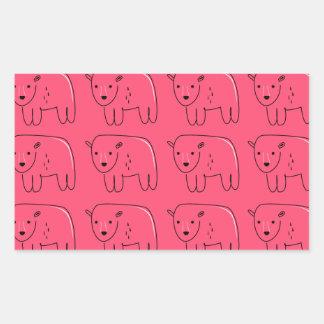 Sticker Rectangulaire Conception douce rose peinte par nounours