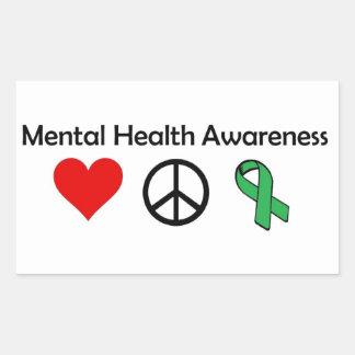 Sticker Rectangulaire Conscience de santé mentale - amour, paix,