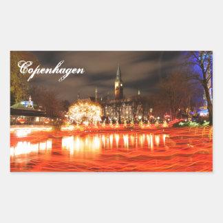 Sticker Rectangulaire Copenhague, Danemark à Noël