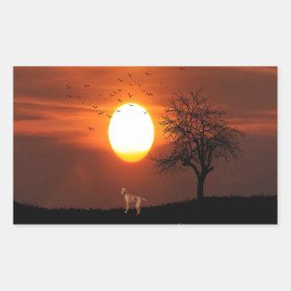 Sticker Rectangulaire Coucher du soleil, arbre, oiseaux, Weimaraner,