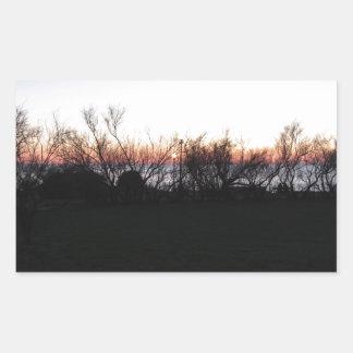 Sticker Rectangulaire Coucher du soleil de mer avec la silhouette