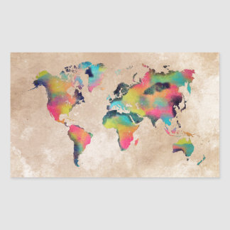 Sticker Rectangulaire couleurs de carte du monde