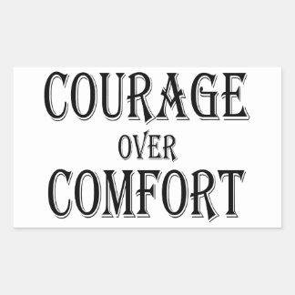 Sticker Rectangulaire Courage au-dessus de confort