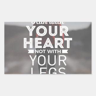 Sticker Rectangulaire Courez avec votre coeur