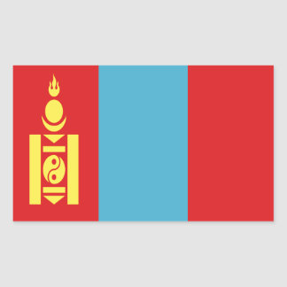 Sticker Rectangulaire Coût bas ! Drapeau de la Mongolie