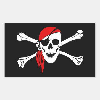 Sticker Rectangulaire Crâne de pirate et drapeau d'os croisés