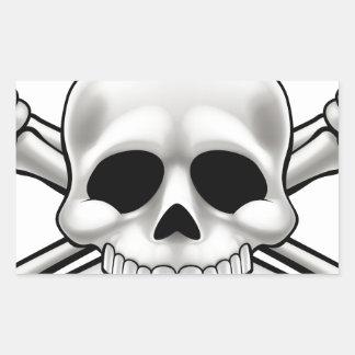 Sticker Rectangulaire Crâne et os croisés