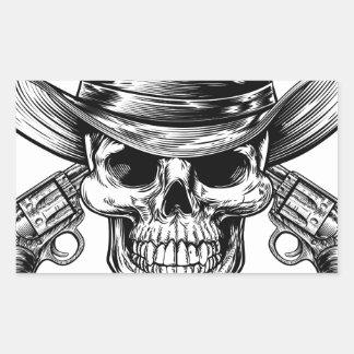 Sticker Rectangulaire Crâne et pistolets de cowboy