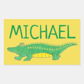 Sticker Rectangulaire Crocodile vert personnalisé Croc d'alligator