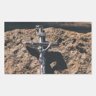 Sticker Rectangulaire croix et sable