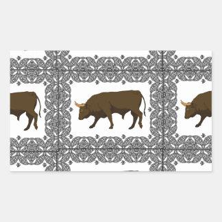 Sticker Rectangulaire cubes bruns en taureaux