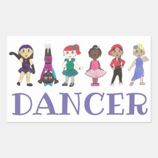 Sticker Rectangulaire Danseurs lyriques de hip hop d'Acro de jazz de